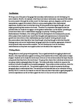 Writing About MS Mathematics Packet