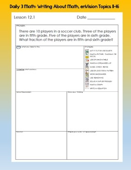 Writing About Math Booklet- enVision Topics 11-16, Grade 4