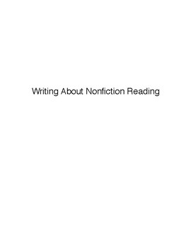 Writing About Nonfiction Reading