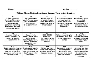 Writing About Reading Choice Board
