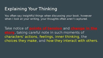 Writing About Reading - Lucy Calkins PowerPoint