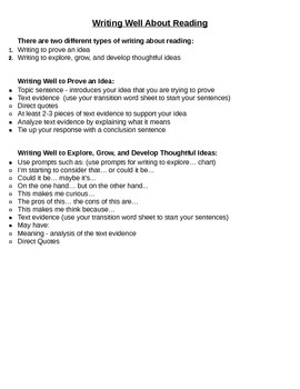 Writing About Reading Tool Kit