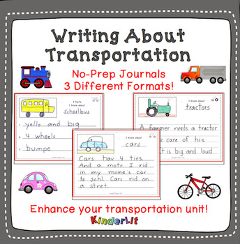 Writing About Transportation - 3 No-Prep Journals