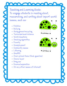 Writing About World Issues Unit ~ Common Core Aligned