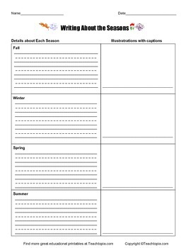 Writing About the Seasons Primary Writing Activity in Three Parts