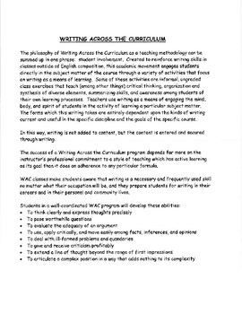 Writing Across the Curriculum: Academic Journal Writing