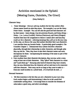 Writing Activities From Syllabus (Amy Brailey)