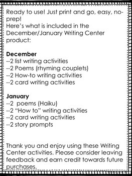 Writing Center NO PREP December and January Worksheets, Activities, Printables
