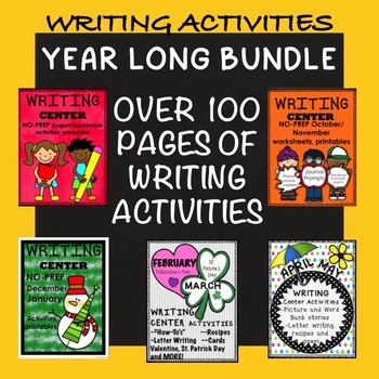 Writing Center Bundle Worksheets Activties NO PREP Year Round August-May Center