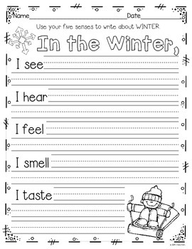 Writing Activities and More: December, January, & February~K to Grade 1