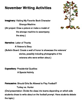 Writing Activities for November