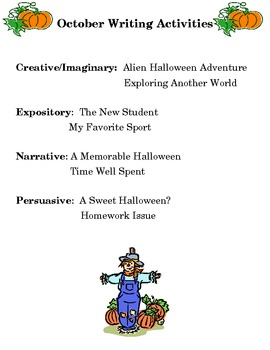Writing Activities for October