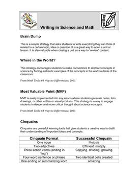 Writing Activities for Science and Math
