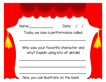 Writing Activity After Seeing a Show, Performance or Concert