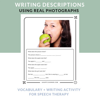 Writing Activity - Describing - Differentiated - Real Photos - Speech Therapy