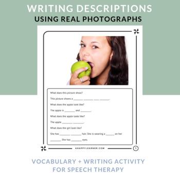 Writing Activity for Describing Using Real Photos | Speech Therapy