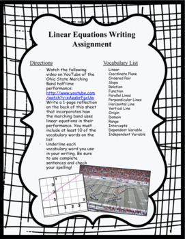 Writing Activity - Linear Equations (Ohio State Marching Band video)