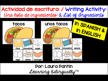 Writing Activity: List of Ingredients (Bilingual)