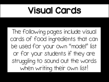 Writing Activity: List of Ingredients (Spanish)