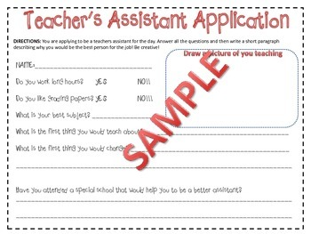Writing Activity- Teacher's Assistant Application