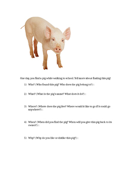 Writing Activity - Use the 5 W's to Describe a Pig