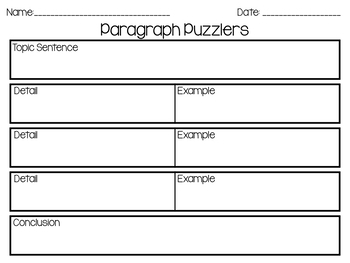 Year-Long Writing Activity: Paragraph Puzzles
