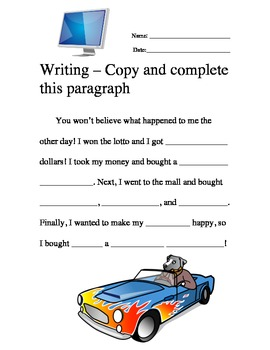 Writing Ad Libs Copy and Complete This Paragraph #1-5 worksheet packet
