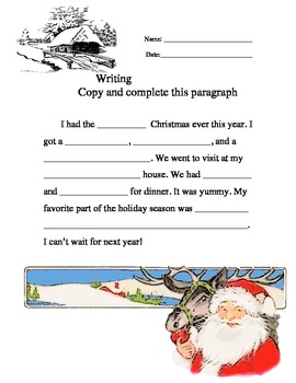 Writing Ad Libs Copy and Complete This Paragraph #6-10 worksheet packet
