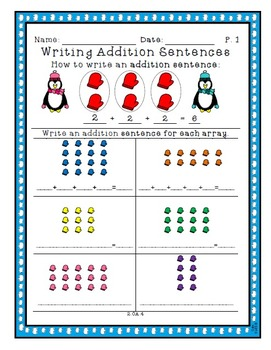 Writing Addition Sentences from Arrays - 2.OA.4