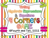 Writing Algebraic Equations and Expressions Four Corners Game