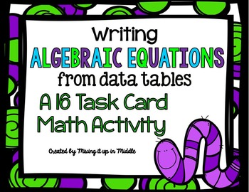 Writing Algebraic Equations from Data Tables Task Cards