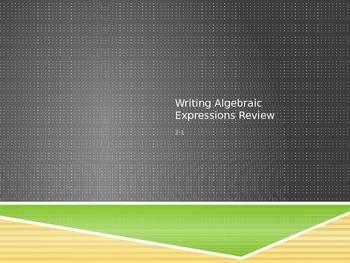 Writing Algebraic Expression Review