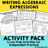 Writing Algebraic Expressions Activities