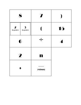 Writing Algebraic Expressions Activity