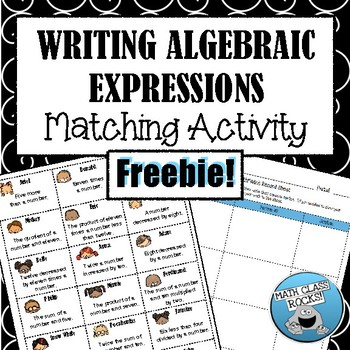 Writing Algebraic Expressions: Cut & Paste Matching Activity! FREEBIE!