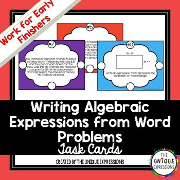 Writing Algebraic Expressions From Word Problems Task Cards