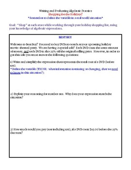 """Writing Algebraic Expressions - """"Holiday Shopping"""" Activity (Differentiated)"""