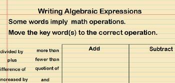 Writing Algebraic Expressions Lesson Presentation