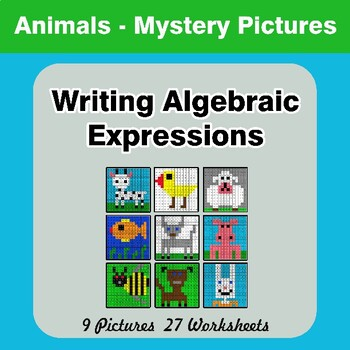 Writing Algebraic Expressions - Math Mystery Pictures - Animals