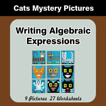 Writing Algebraic Expressions - Math Mystery Pictures / Color By Number - Cats