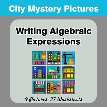 Writing Algebraic Expressions - Math Mystery Pictures / Color By Number - City