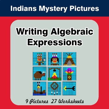 Writing Algebraic Expressions - Math Mystery Pictures - Indians