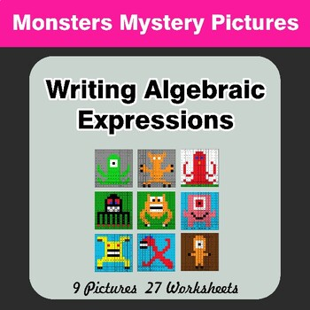Writing Algebraic Expressions - Math Mystery Pictures - Monsters