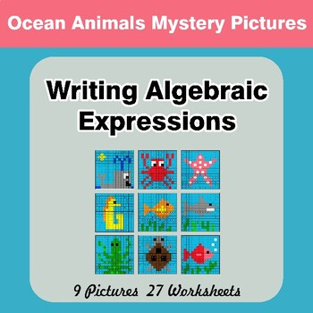 Writing Algebraic Expressions - Math Mystery Pictures - Ocean Animals