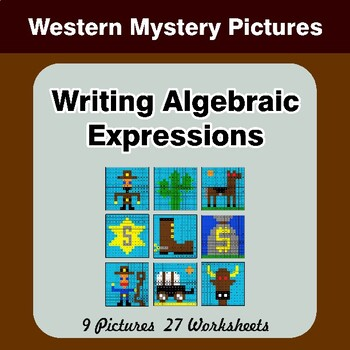 Writing Algebraic Expressions - Math Mystery Pictures - Western