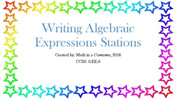 Writing Algebraic Expressions Math Stations