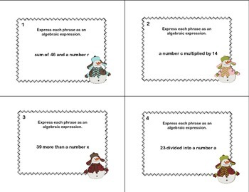 Writing Algebraic Expressions-Math Task Cards-Grade 6-CCSS