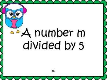 Writing Algebraic Expressions Task Cards