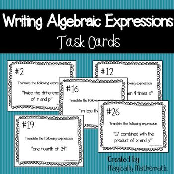 Writing Algebraic Expressions Task Cards Teaching Resources ...