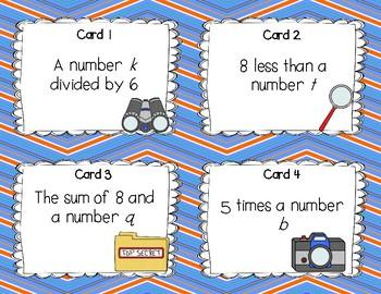 Writing Algebraic Expressions -Task Cards Set 1